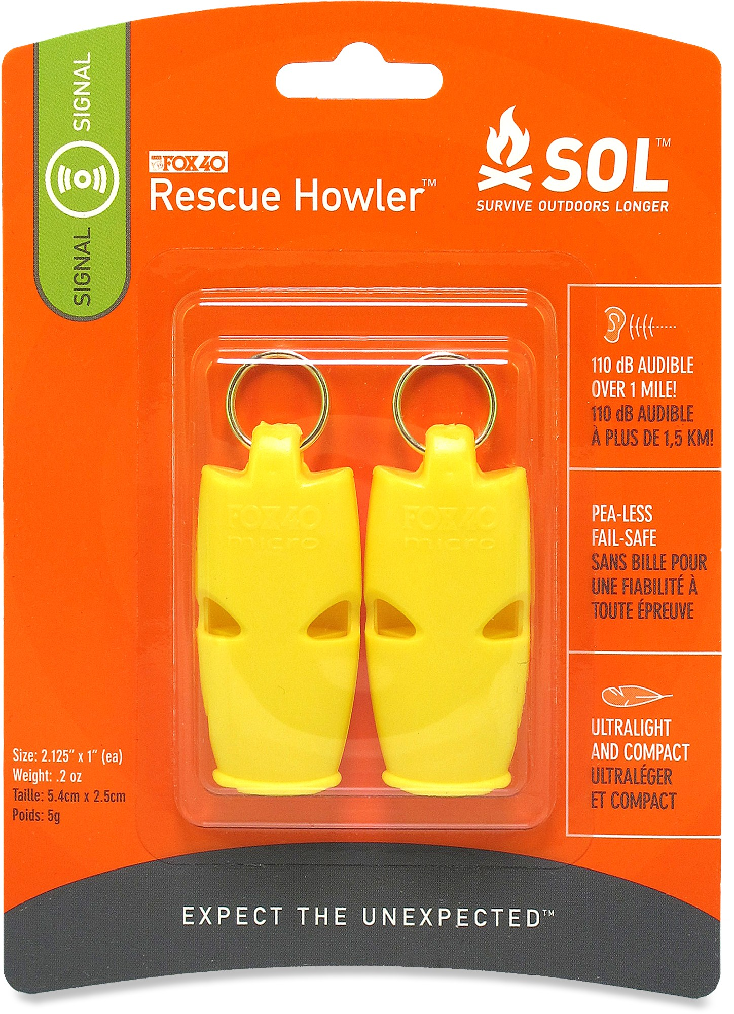 SOL Rescue Howler Whistle (2-pack)